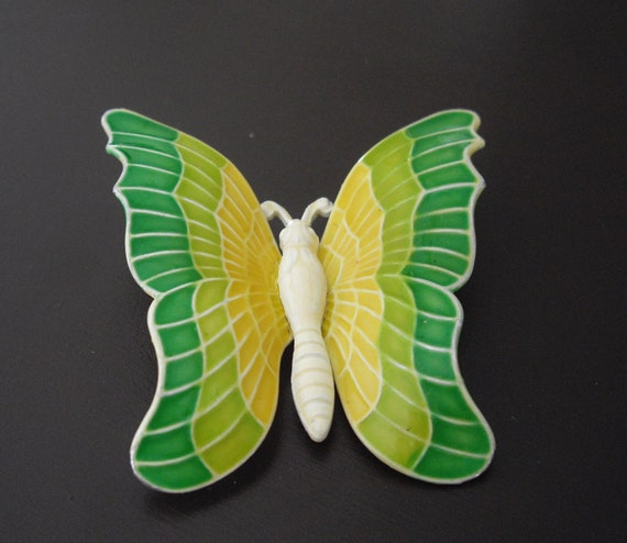 Vintage Butterfly Brooch, Enameled Brooch, Butterfly Brooch, West Germany Brooch, Green Brooch, Yellow Brooch