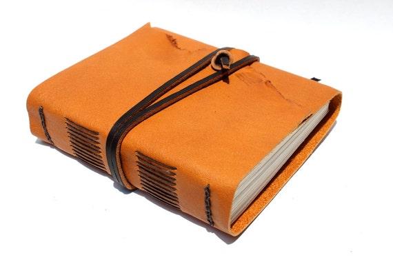 """Handmade Leather Journal 4 1/2"""" x 5"""" 140 lb Watercolor Paper - Sketchbook or Art Journal by Wee Bindery"""