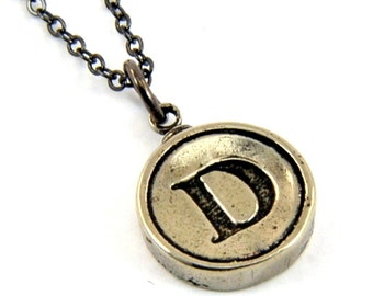 Letter D Necklace - White Bronze Initial Typewriter Key Charm Necklace - Gwen Delicious Jewelry Design GDJ