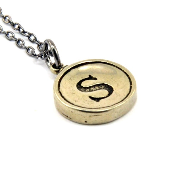 Letter S Charm Necklace - White Bronze Initial Typewriter Key Charm Necklace - Gwen Delicious Jewelry Design