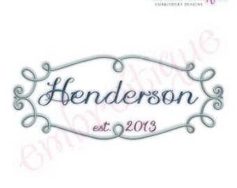 Henderson Monogram Font Frame- Instant Email Delivery Download Machine embroidery design