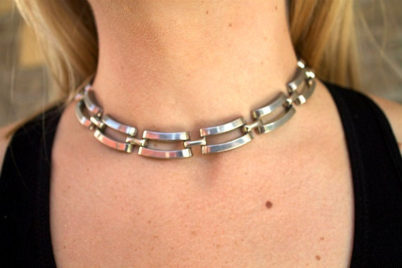 Vintage 1960s Necklace Chocker Silver Toned Retro Rockabilly Mod