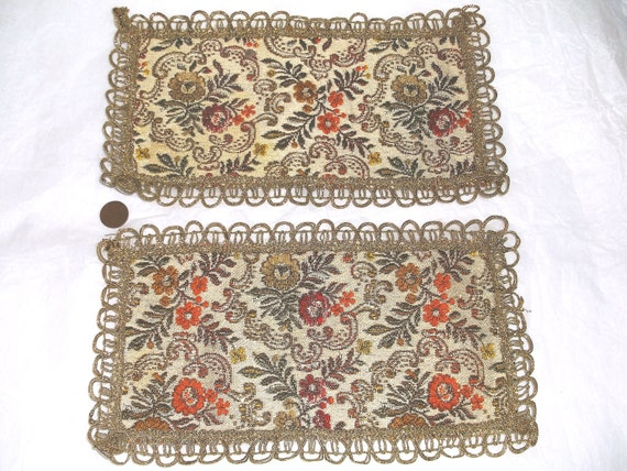 Vintage Tapestry Doily Mat Pair . . . 10 3/4 X 6 inches