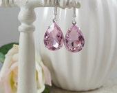 Pink Earrings Estate Style Teardrops