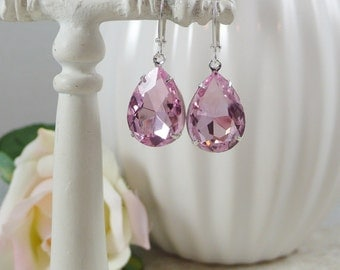 Pink Earrings Estate Style Teardrops