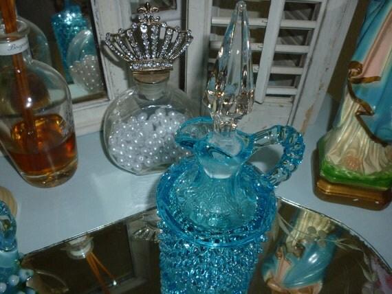 Aqua Blue Fenton Hobnail Cruet ~ Blue Glassware ~ Blue Hobnail Glassware ~ Collectible ~ Gift for Her ~ Vintage Glassware ~ Home Decor
