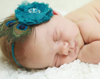 Peacock SHABBY Chic Flower Headband