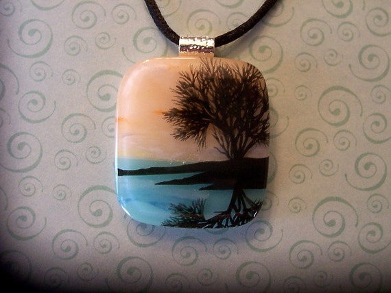Fused Glass Pendant, Peaceful and Quiet, Fused Jewelry, Scenic, Nature, Tree, Dichroic Glass