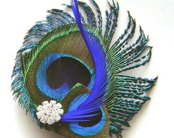 Peacock Hair Clip ROYAL BLUE Sophia Peacock and Sword and Rhinestone Wedding Hair Fascinator Clip
