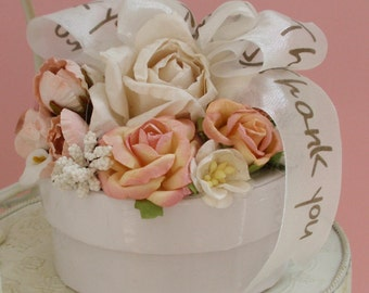 Vintage Look Gift Box with Thank You Ribbon and Flowers