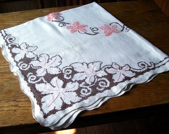 Beautiful Cross Stitched Embroidered Linen Table Cloth, Elegant Tablecloth, Home Decor, Floral Tablecloth, Retro Table Covering, MidCentury