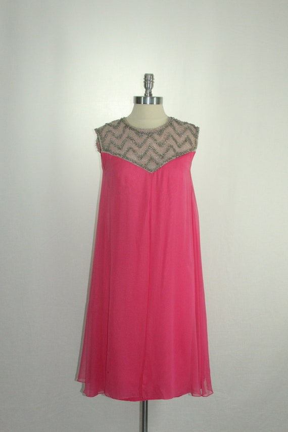 1960s Hot Pink Shift Dress - Sleeveless Pink Silk Chiffon with Silver Beaded Neckline Cocktail Party Dress