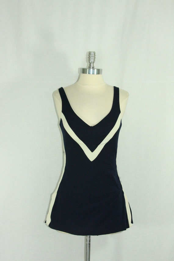 1960s Bathing Suit  - Rose Marie Reid - Navy Blue and White Color Block Nautical Swimsuit