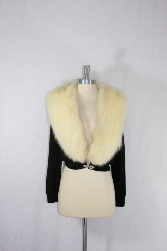 Oh hold for Heather......Vintage Sweater -  1950s Black with White Fur Collar