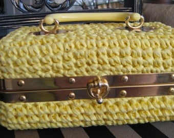 Yellow straw Bag/  50's Vintage Box Purse Woven Straw Bright Yellow Made in Italy by  Picchi