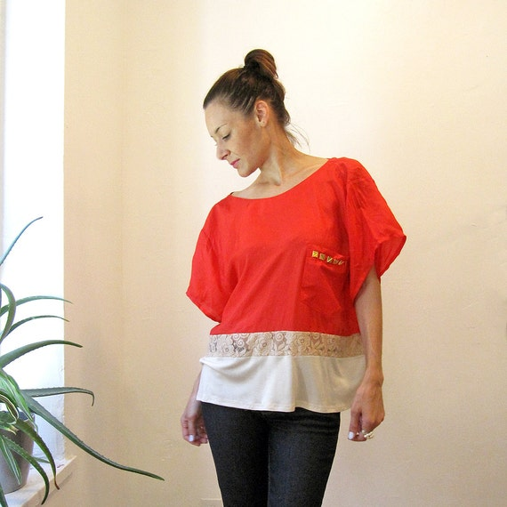 Red silk color block blouse - OOAK - Medium / Large - One Size fits all - Upcycled vintage / Simone's Rose Sandbox collection