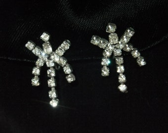 Vintage Earrings Screw Back Rhinestones Silvertone Costume Jewelry Retro Formal Wedding Prom