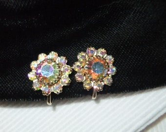 Vintage Earrings Screw Back Goldtone Iridescent Rhinestones Round Retro Costume Jewelry