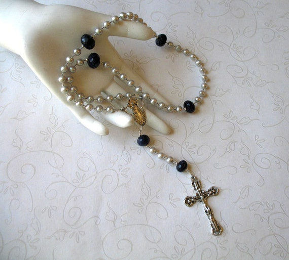 September Birthstone Rosary - Genuine Sapphires and Silver Freshwater Pearls