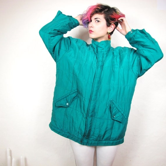 80s Emerald Green Silk Quilted Bomber Jacket (M/L)