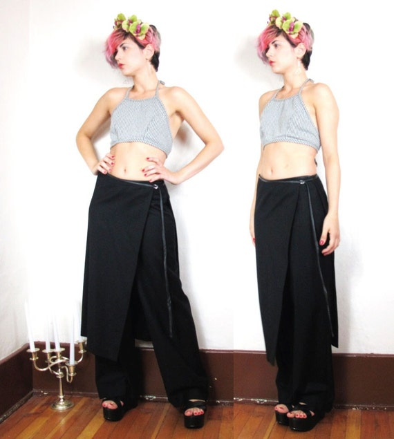 90s Asian Minimalist Kilt Layered Leather Waistband High Waist Pants (S/M)