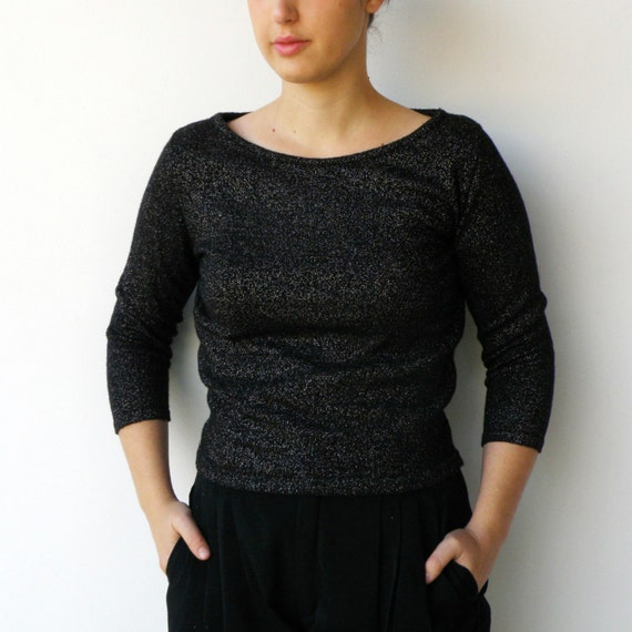 Vintage Black & Gold Lightweight  Wool Blouse