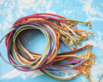Gold Plated finish--15pcs 16-18 inch assorted (15 colors) sample 2.5mm flat suede leather necklace cords