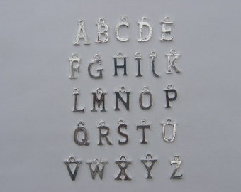 26 Letter whole alphabet charms 15 x 5 - 16 x 11mm silver plated
