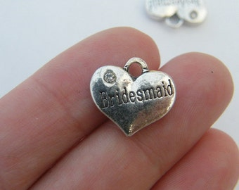 4 Bridesmaid pendants antique silver tone M460