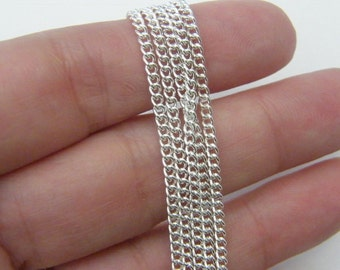 4m Chain  silver plated 2 x 3mm loops