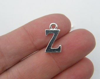 8 Letter Z alphabet charms silver plated