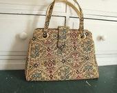 Vintage 1950's Floral Tapestry Handbag