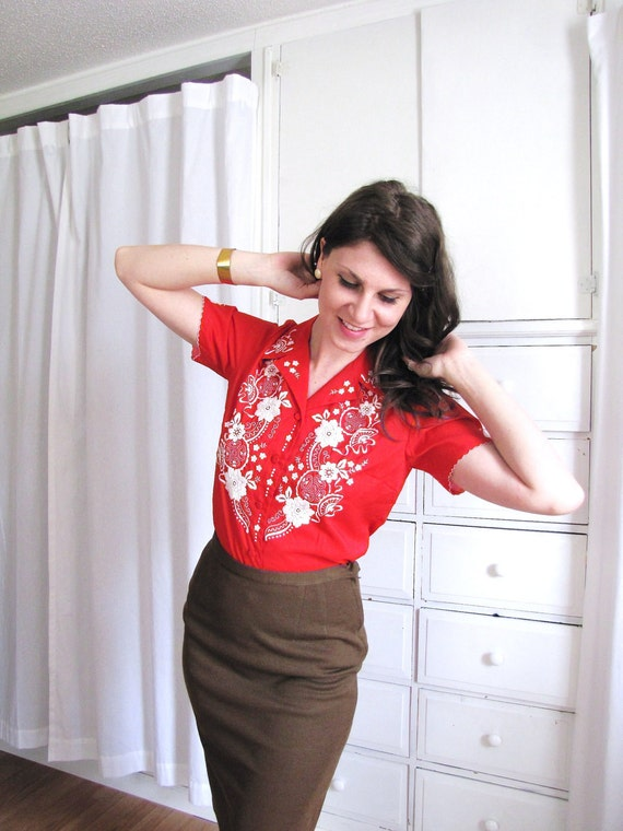 Vintage 1960's Red Hand Embroidered Oriental Blouse