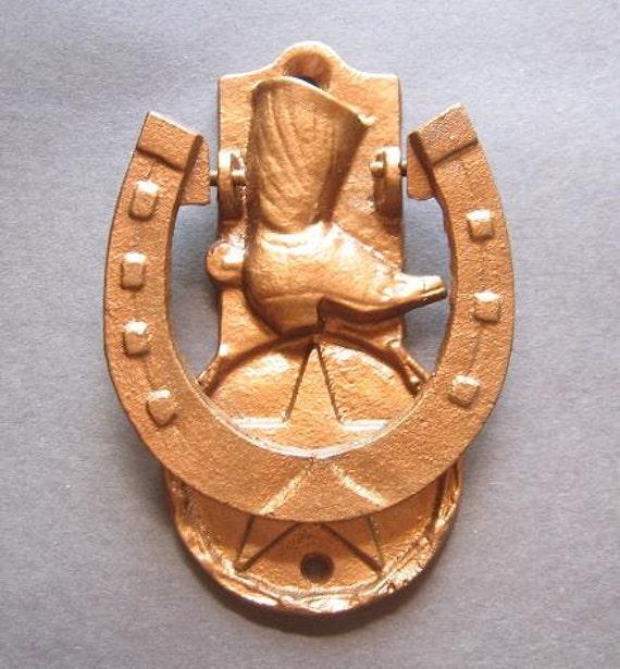 Cast  Iron  Western Door  Knocker in Hammered Copper
