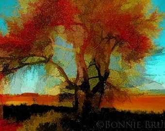 Red Tree - digitally painted nature photo - red orange turquoise gold teal - home decor - wall decor, large format prints