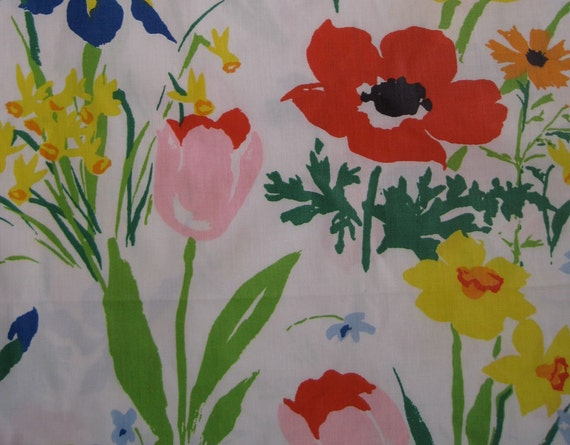 Vintage 60s Mid Century Poppy Floral Summer Floral Curtains Fabric