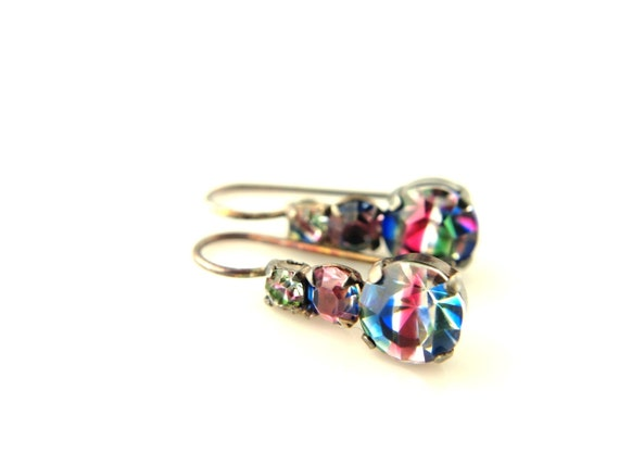 Iris Rhinestone Earrings - Vintage