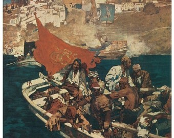 Wooden jigsaw puzzle. PIRATE BUCCANEERS in DINGHY. Brangwyn. Vintage illustration. Wood, handcut, handcrafted, collectible. Bella Puzzles.