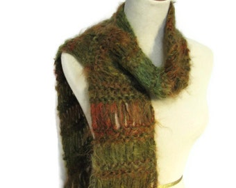 Sale Hand Knit Scarf - Green Rust Copper, Gift For Her, Fashion Scarf, Fiber Art, Fashion Accessory, Brown Scarf
