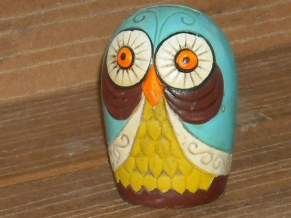 Vintage Owl Colorful Bright Fun Art Deco Style Hoot Owl Bank