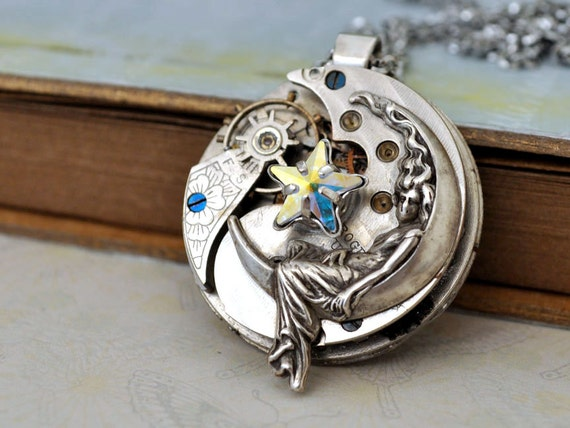 steampunk necklace - Love You To The Moon And Back -  lunar goddess charm with star shaped  Swarovski jewel