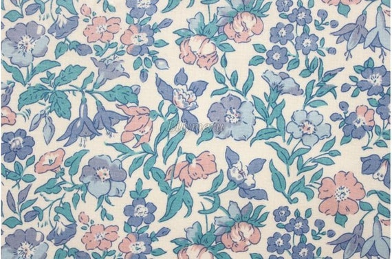 Liberty tana lawn printed in Japan - Mamie  - Blue mix