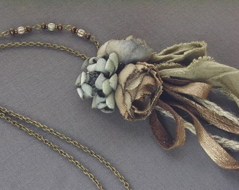 petite bouquet necklace - hand dyed - natural color fabric rose necklace, leather and flowers, rustic, boho, linen roses, natural necklace