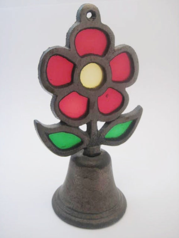Sale - Vintage stain glass flower brass bell