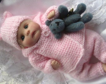 Snow Baby Layette - Knitting pattern for baby doll 7-8 inches Clay Baby or similar
