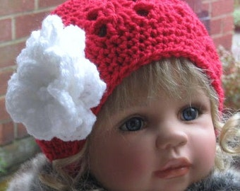 CROCHET PATTERN - Rose-Berry Cloche Hat for Baby/Child including Flower