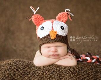 Baby boy hat, baby girl hat, Owl, Crochet owl hat, photo prop, tangerine chocolate owl, baby shower gift, owing home hat, newborn child