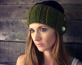 Headband chunky knit ear warmers / THE PARKWAY / Green Lakes