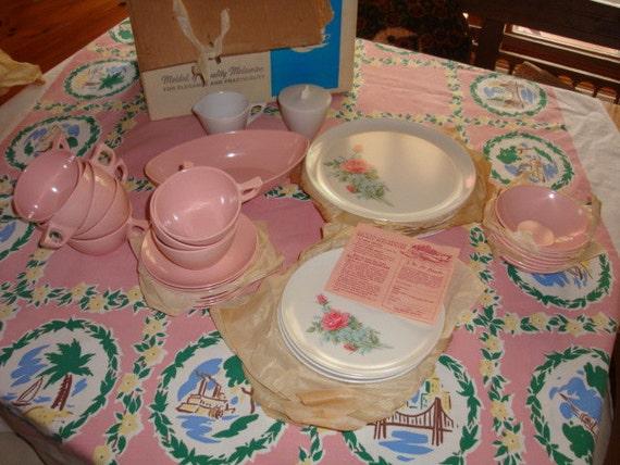 Vintage Set of Melmac w PINK Roses in Orig Box Unused 1940s/50s