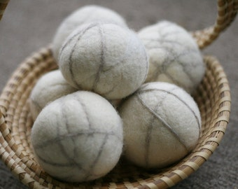SET OF 6 - Wool Felt Dryer Balls in Natural White